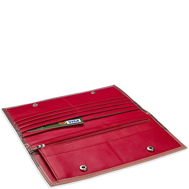 Кожаное портмоне с абстрактным принтом Диво Барокковая ласка бордового цвета