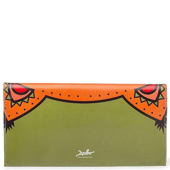 Кожаное портмоне Диво Лисенок дремлет оранжевого цвета