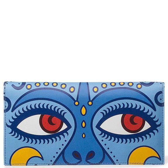 Портмоне из кожи с принтом Диво Зачарованная любовь синего цвета