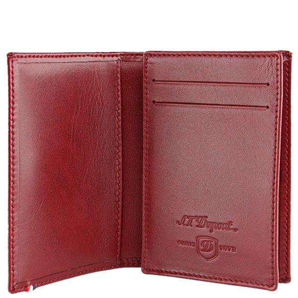 Визитница S.T.Dupont красного цвета из гладкой кожи