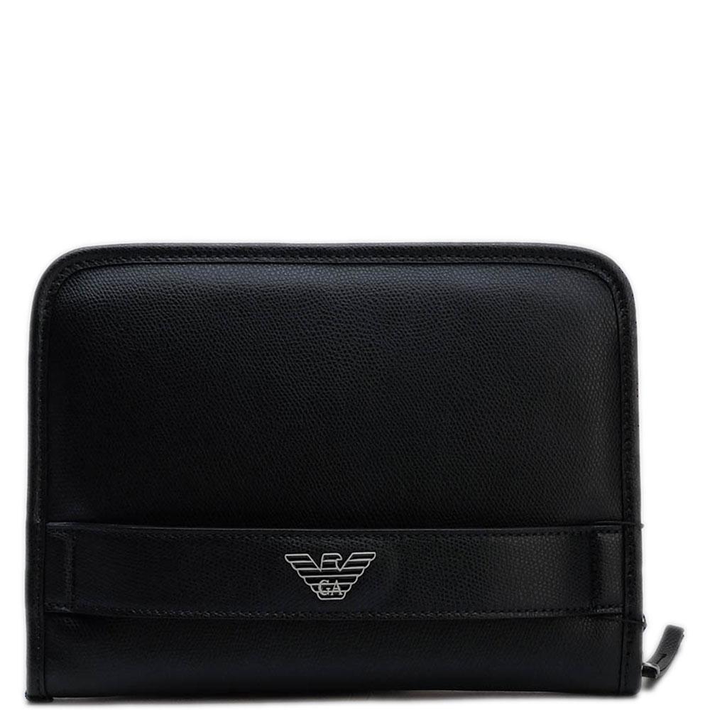 Портмоне черного цвета Emporio Armani с ручкой-петлей