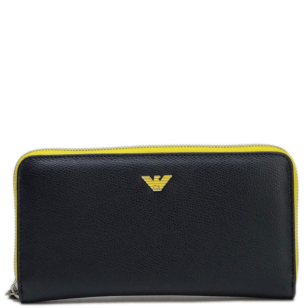 Черный кошелек Emporio Armani с желтыми вставками