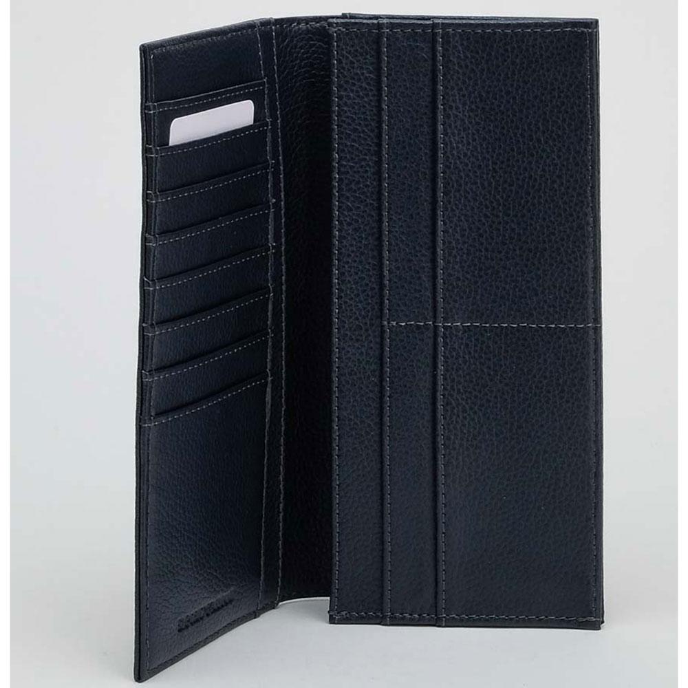Синий кошелек Emporio Armani с брендовым тиснением