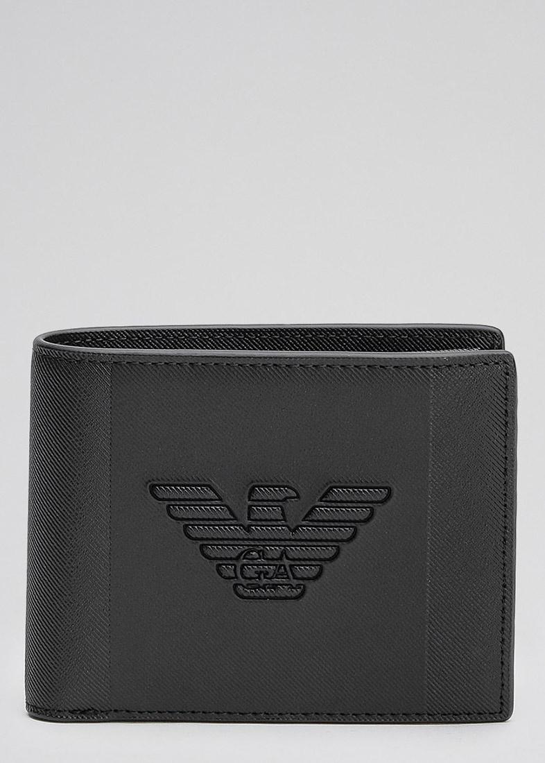 Черное портмоне Emporio Armani с брелоком