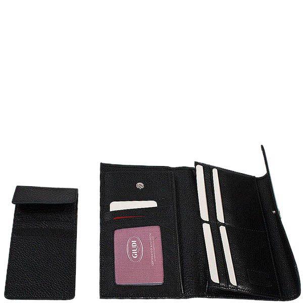 Горизонтальное унисекс портмоне Giudi Leather из натуральной черной крупнозернистой кожи