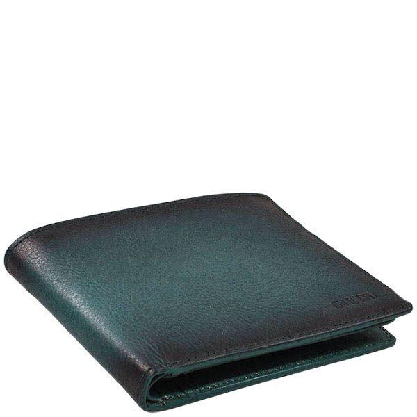 Вместительное зеленое портмоне Giudi Leather из натуральной зернистой кожи