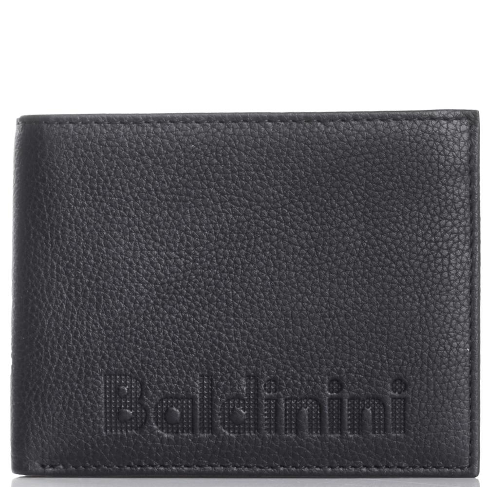 Черное портмоне Baldinini Charles из зернистой кожи