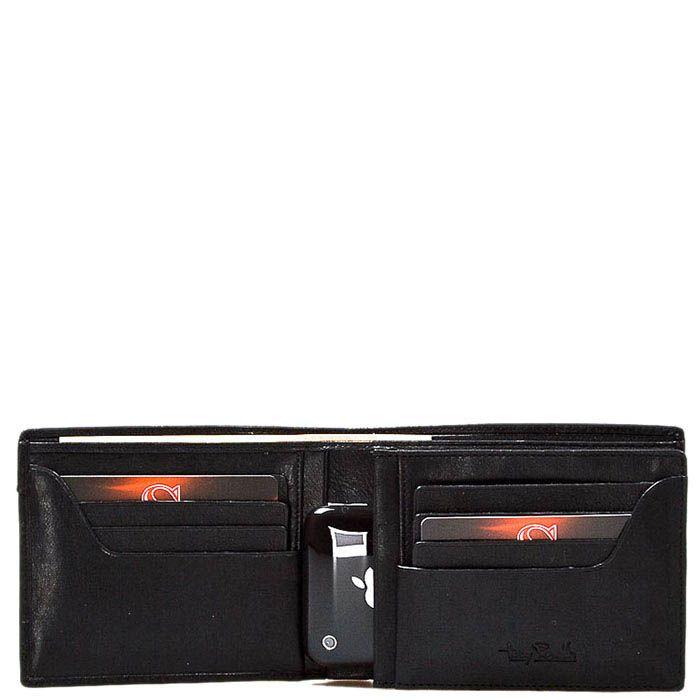Черное вместительное портмоне Tony Perotti Giugiaro из зернистой кожи