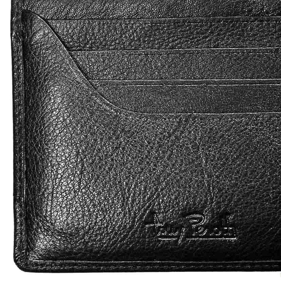 Горизонтальное черное портмоне Tony Perotti Giugiaro из натуральной зернистой кожи