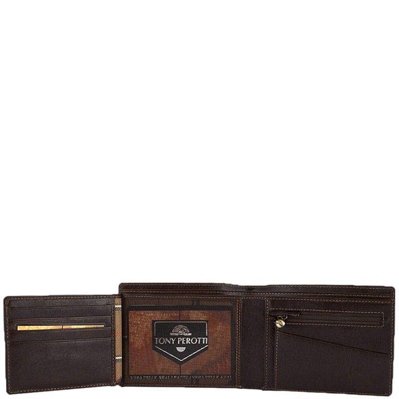 Коричневое вместительное портмоне Tony Perotti Italico из натуральной кожи для мужчин