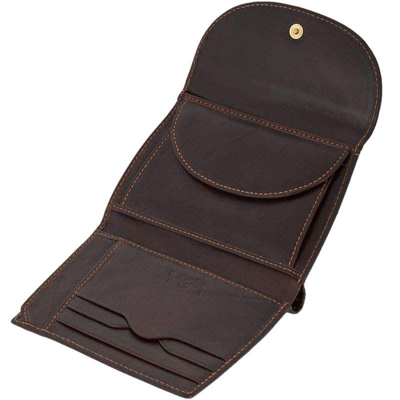 Женское коричневое портмоне Tony Perotti Italico прошитое желтой нитью