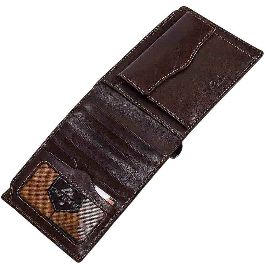 Вместительный практичный кошелек Tony Perotti Italico из коричневой кожи прошитой оранжевой нитью