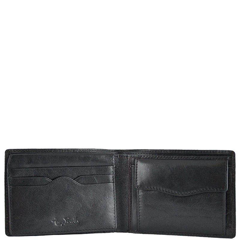 Черное портмоне из гладкой кожи Tony Perotti Italico с откидным отделением и тиснением