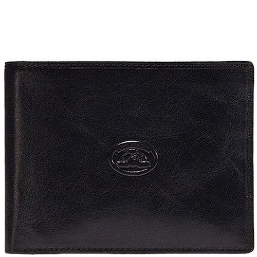 Черный вместительный кошелек с тиснением Tony Perotti Italico с откидным отделом