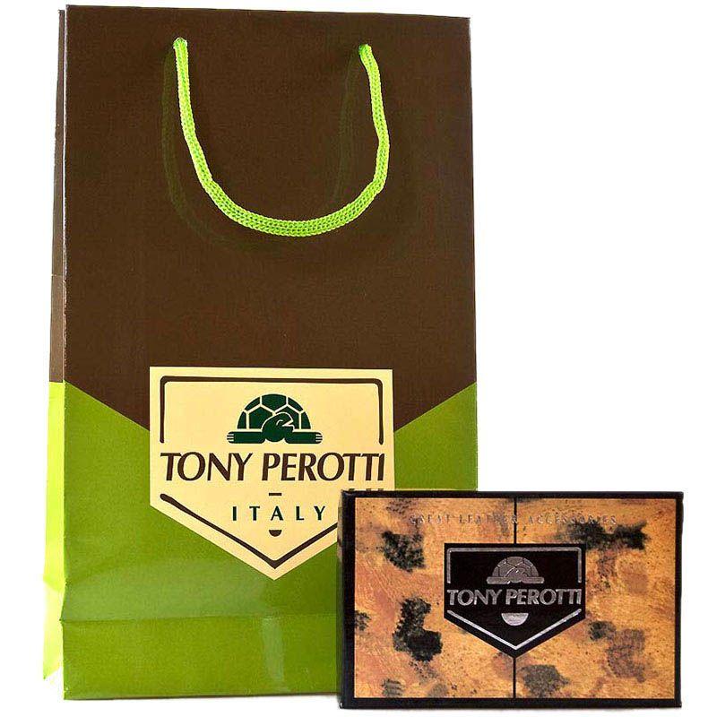 Вместительный кошелек из коричневой кожи Tony Perotti Italico с фирменным тиснением прошит нитью