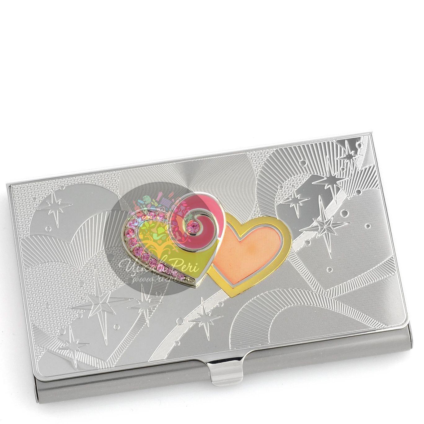 Визитница Jardin Dete Летний сад серебристая Два сердца для своих визиток