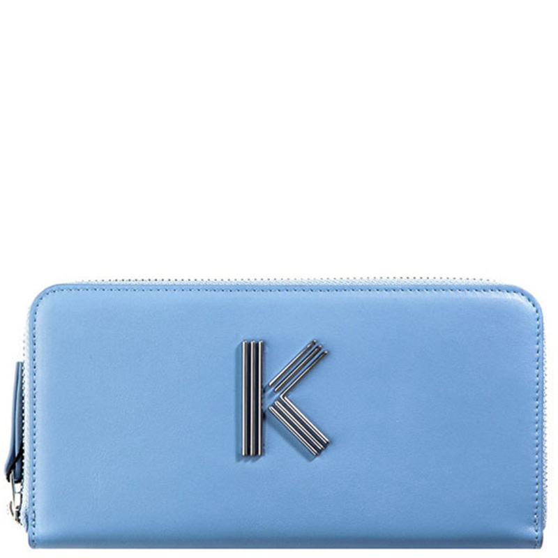 Голубой кошелек Kenzo K-Bag с металлическим логотипом