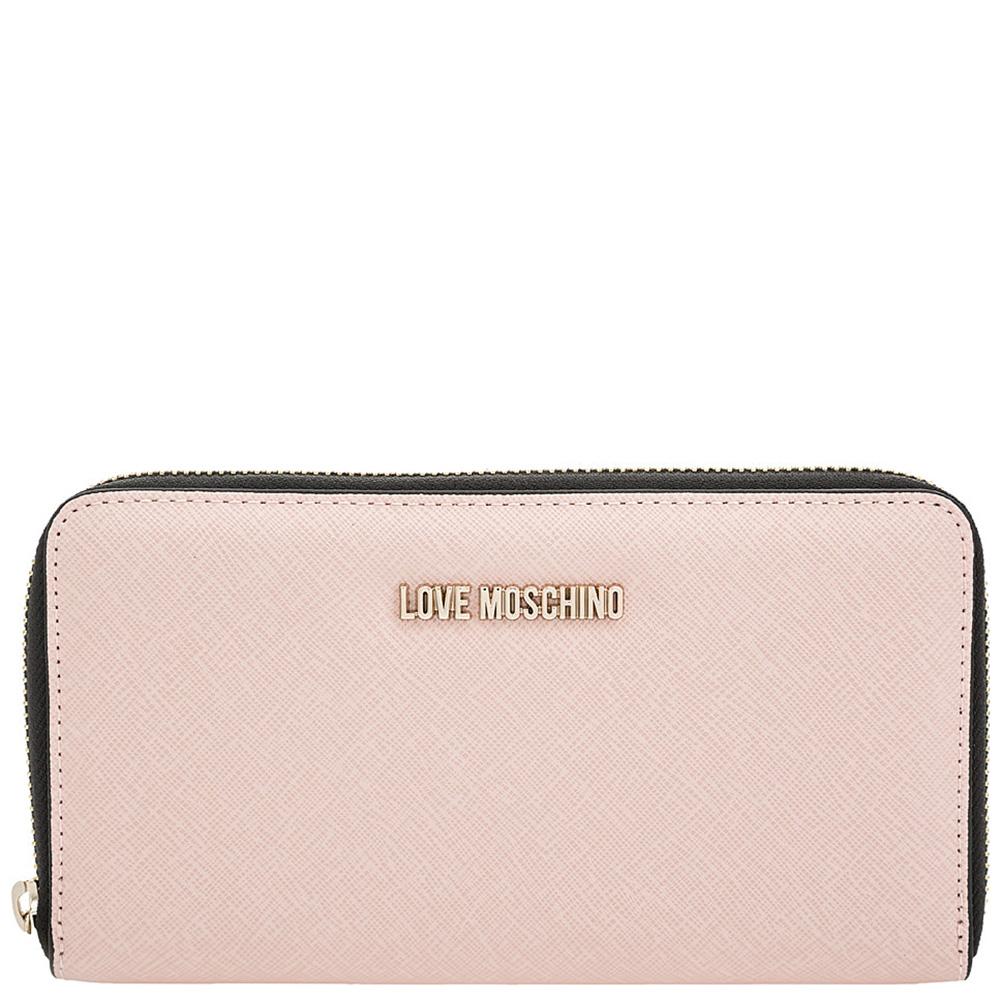Светло-розовый кошелек Love Moschino с тиснением сафьяно