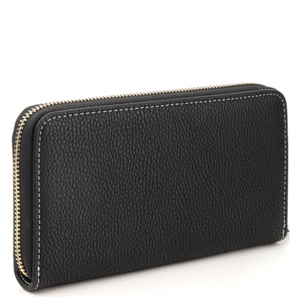 Черный кошелек Love Moschino с брендовой вышивкой