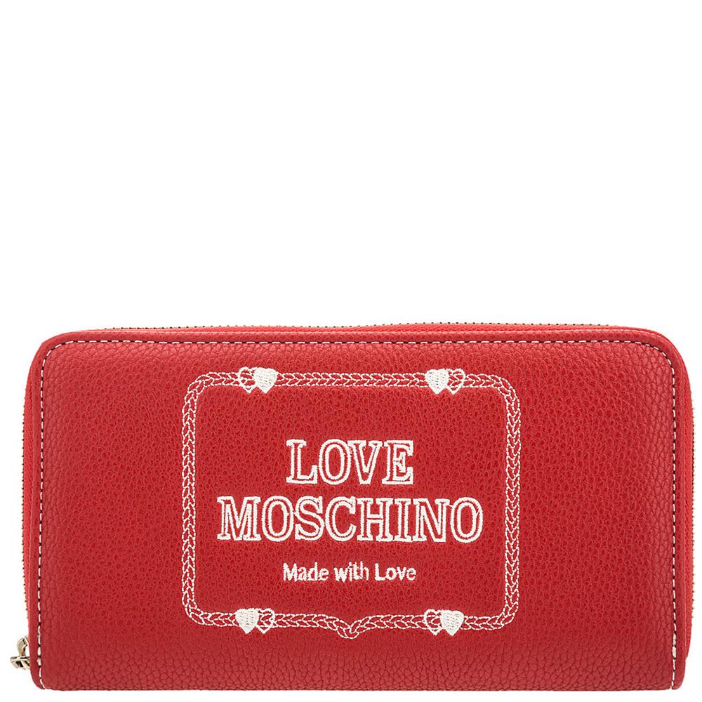 Женский кошелек Love Moschino красного цвета с вышивкой