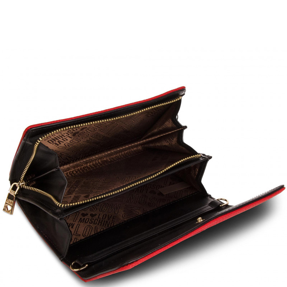Красный кошелек Love Moschino со съемной цепочкой