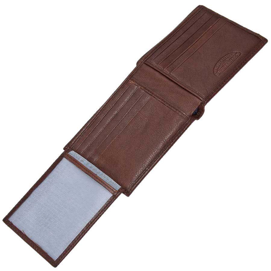 Небольшое горизонтальное портмоне Miguel Bellido Nature из коричневой кожи с тиснением