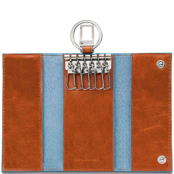 Ключница Piquadro Blue Square из кожи оранжевого цвета