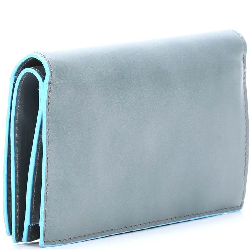 Кожаное портмоне Piquadro Blue square светло-серое женское с монетницей на молнии