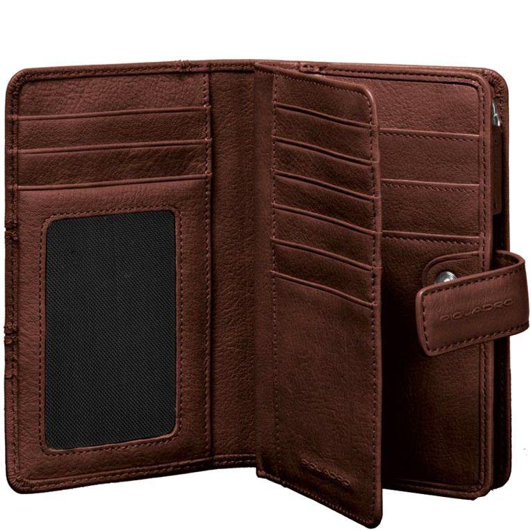 Портмоне Piquadro Vibe коричневое с монетницей и 11 слотами для карт
