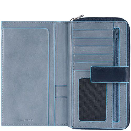 Кожаное портмоне Piquadro Blue square женское серо-синее на молнии с отделением для карт и документа