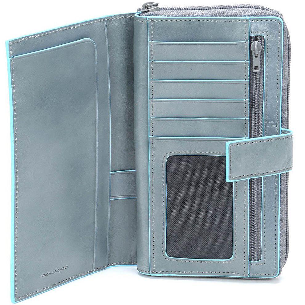 Кожаное портмоне Piquadro Blue square женское светло-серое на молнии с отделением для карт и документа