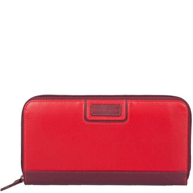 Портмоне Piquadro Pop бордово-красное большое на молнии