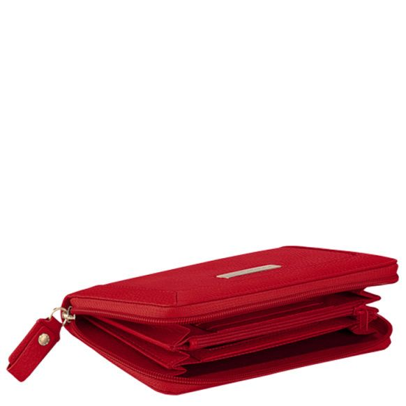 Крупное портмоне на молнии Piquadro Shimmer красное