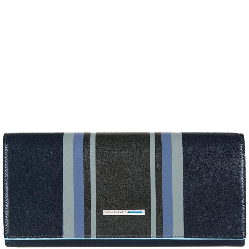 Черное портмоне Piquadro B2 Graphic с синим геометрическим принтом