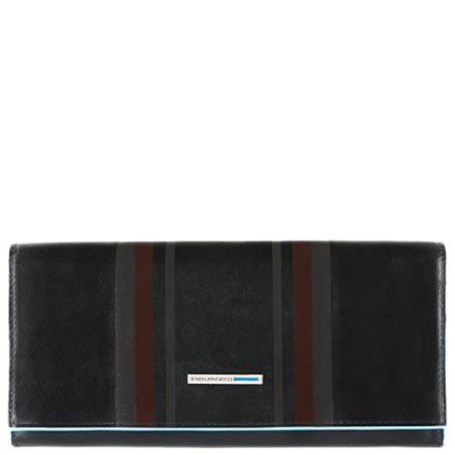 Черное портмоне Piquadro B2 Graphic с бордовым геометрическим принтом
