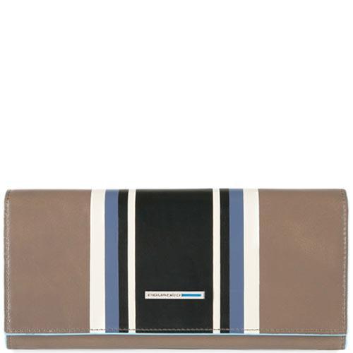 Бежевый портмоне Piquadro B2 Graphic с геометрическим принтом