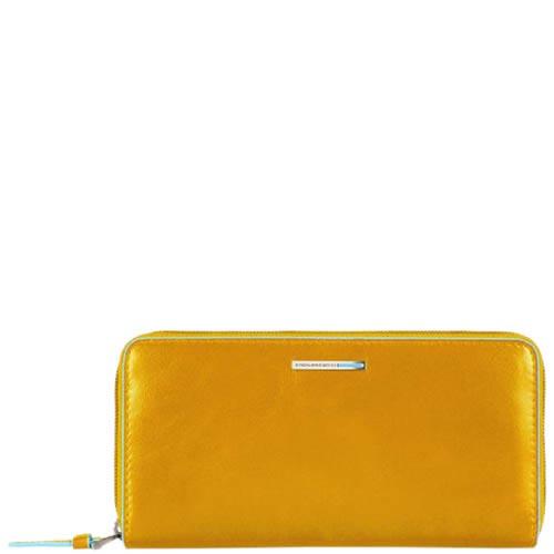 Желтое кожаное портмоне Piquadro Blue Square с тремя отделениями