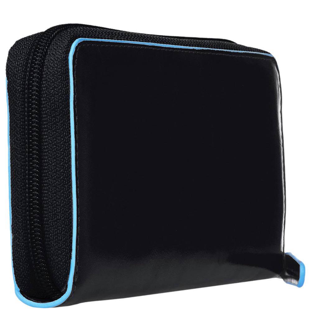 Черное кожаное портмоне Piquadro Blue Square с тремя отделениями