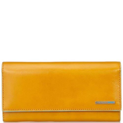 Желтое женское портмоне Piquadro Blue Square из кожи
