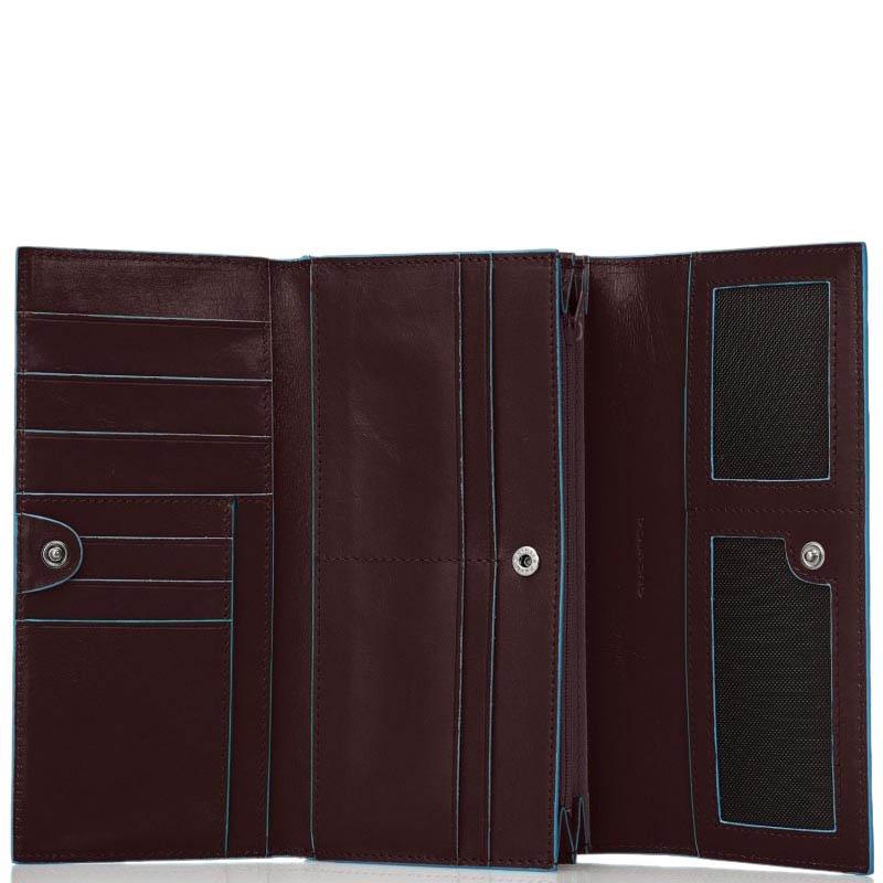 Коричневое портмоне Piquadro Blue Square с тремя отделениями