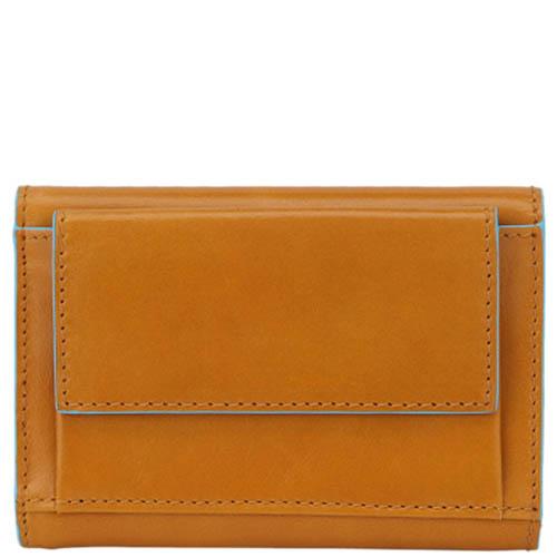 Горизонтальное желтое портмоне Piquadro Blue Square Vibe из кожи