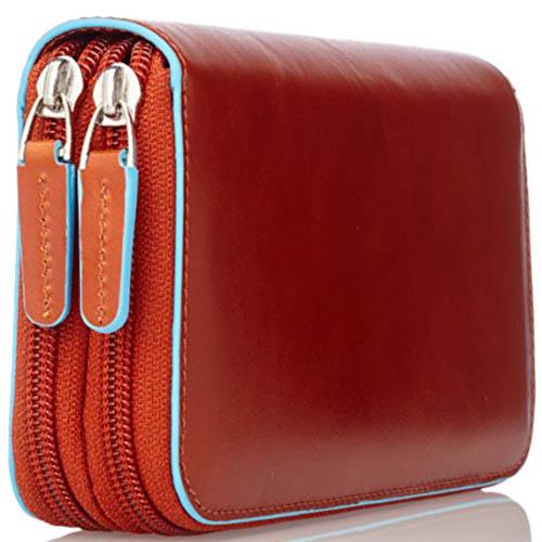 Оранжевое кожаное портмоне Piquadro Blue Square с карманом для смартфона