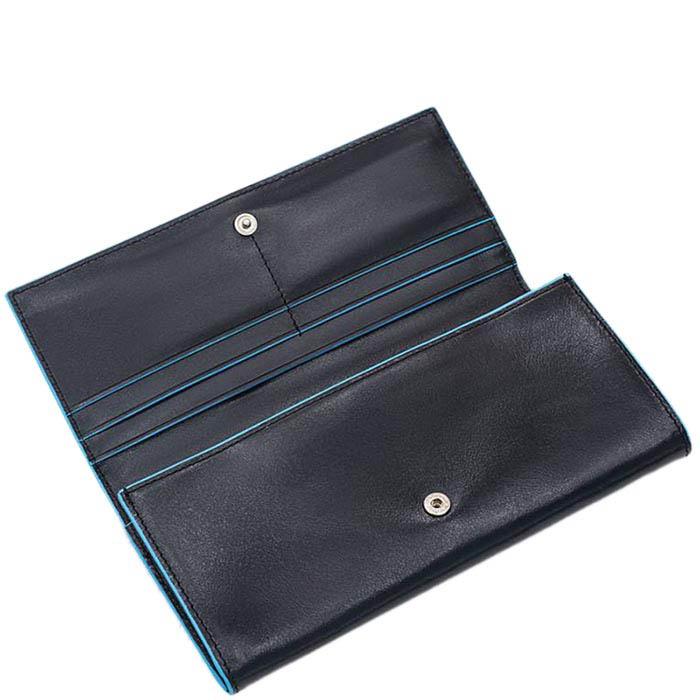 Вертикальное черное портмоне Piquadro Blue Square на молнии