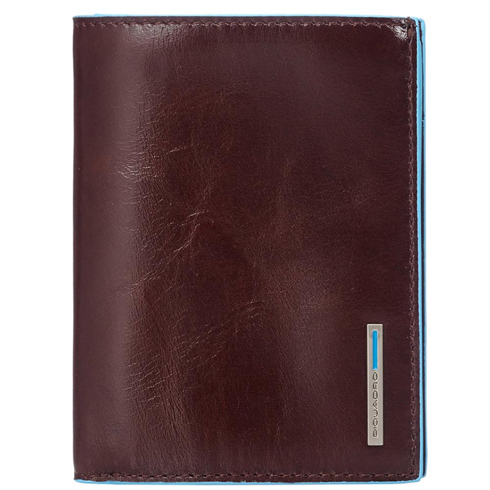 Горизонтальное коричневое портмоне Piquadro Blue Square из натуральной зернистой кожи