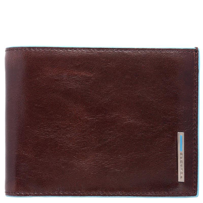 Горизонтальное портмоне Piquadro Blue Square из кожи коричневого цвета