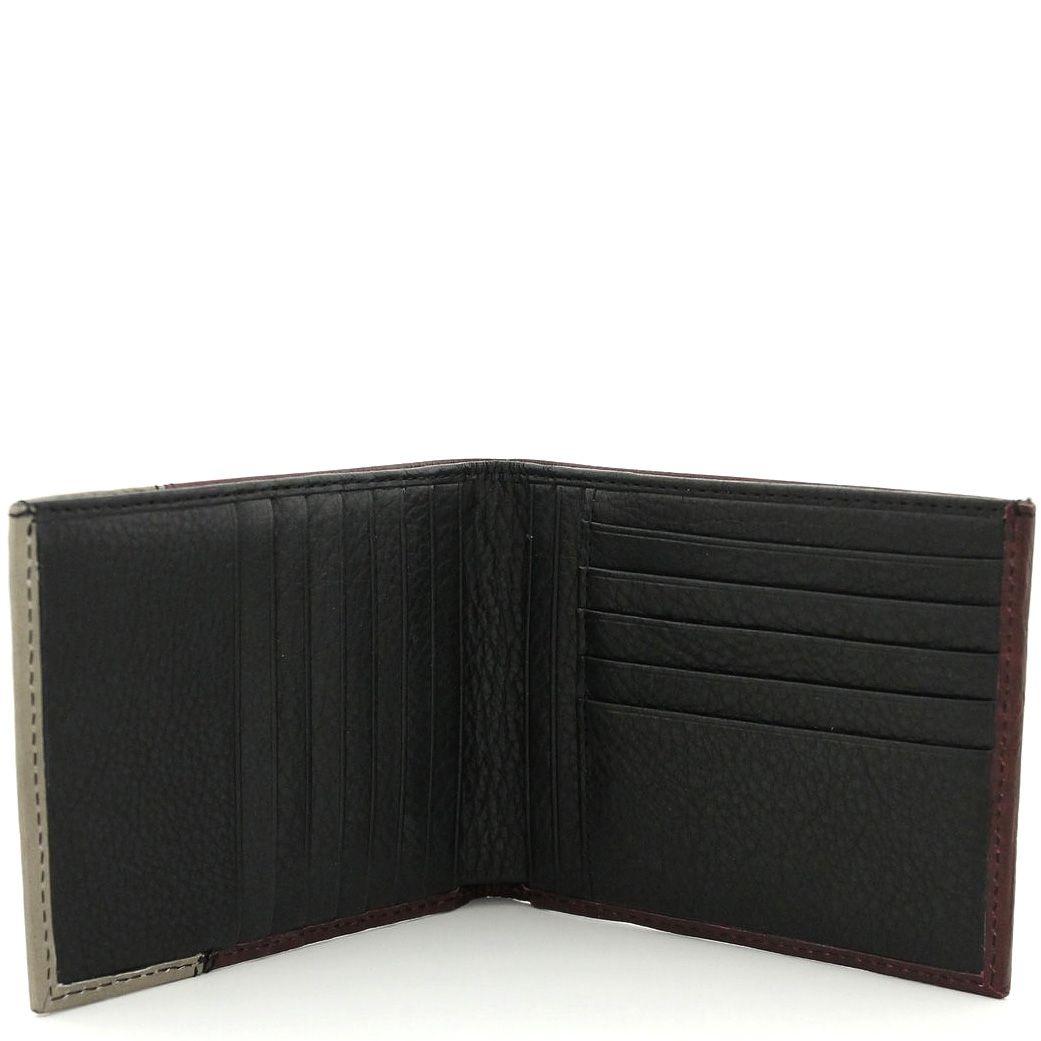 Кожаное портмоне Piquadro by Antonio Marras бежево-бордовое на 12 карт