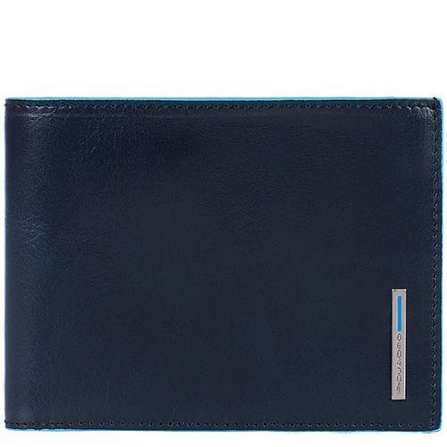 Классическое кожаное портмоне Piquadro Blue square темно-синее и серое внутри на 12 карт