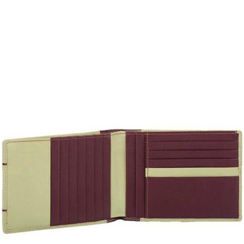 Кожаное портмоне Piquadro Pop в сочетании бежево-зеленого и темно-коричневого цвета