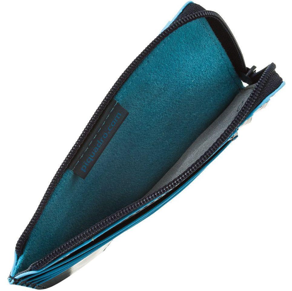 Кожаная кредитница Piquadro Blue square серо-синяя с отделением на молнии