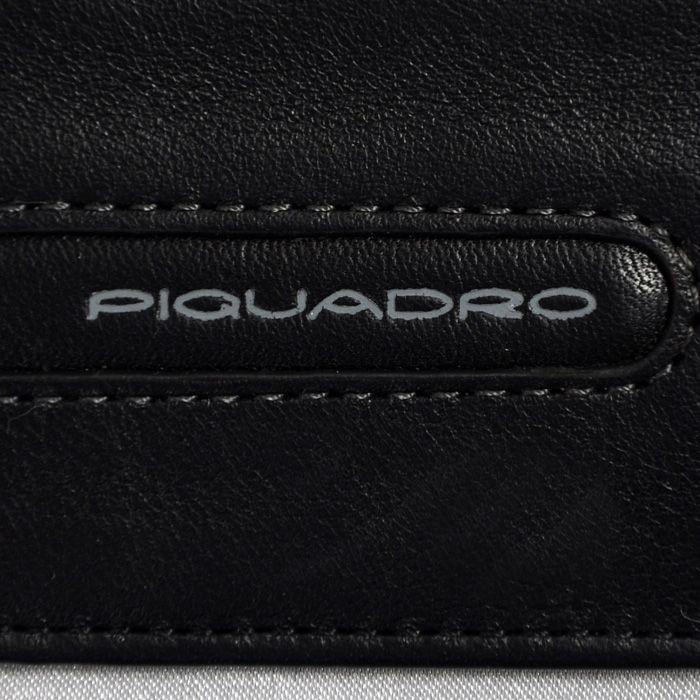 Кожаная черная кредитница Piquadro Freeway с отделением на молнии